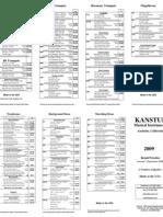 Kanstul Retail Pricelist 2009