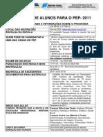 Informaes Sobre Inscries Para o PEP 2011