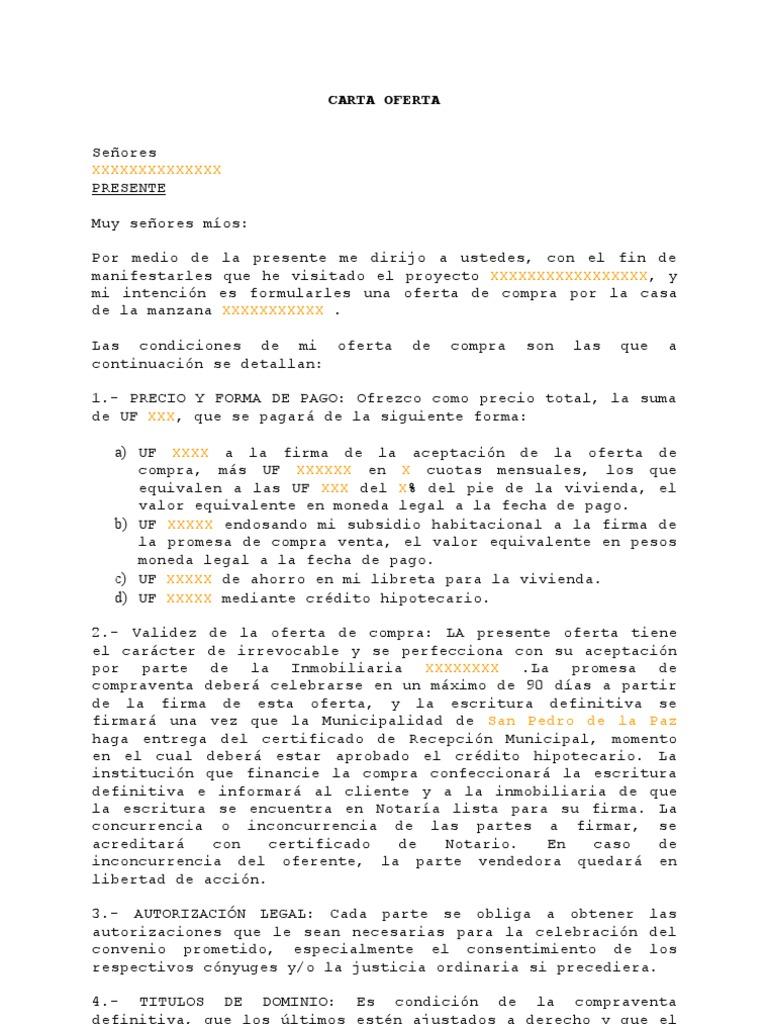 Carta Para Ofertar