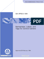 ISA RP60.6 Nameplates, Labels, And Tags for Control Centers