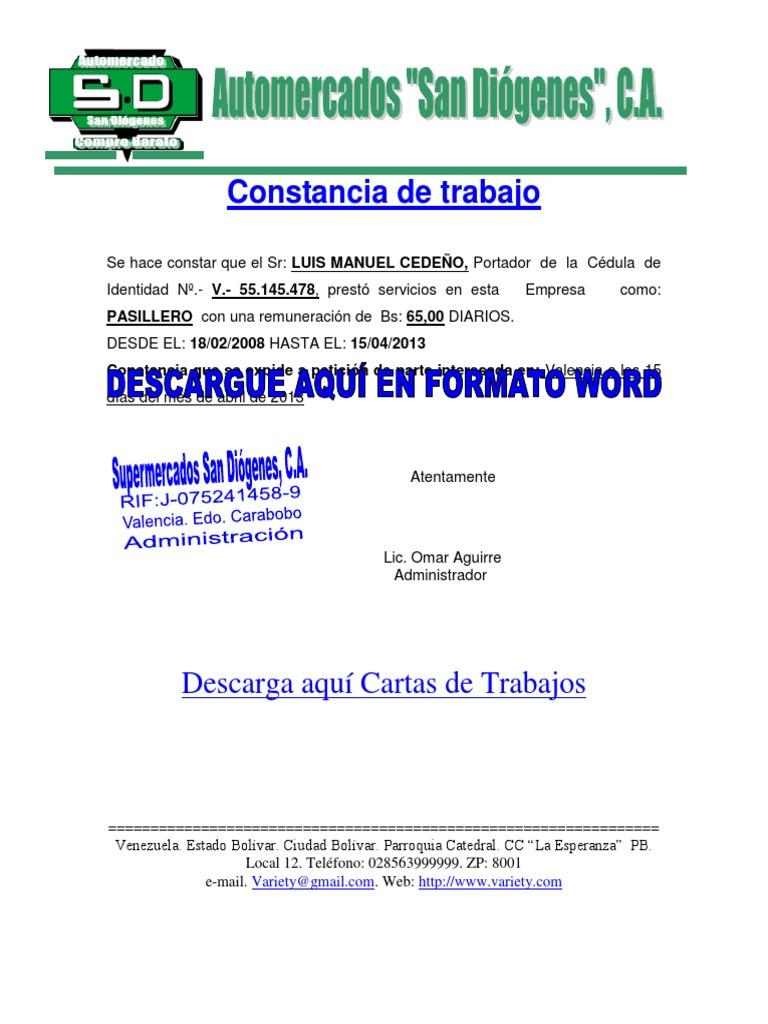 Formato de carta de trabajo for Modelo de contrato de trabajo de empleada domestica