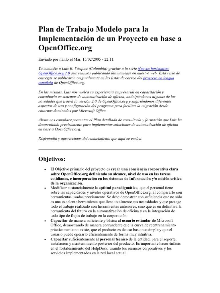 Plan de Trabajo Modelo para la Implementación de un Proyecto en base ...