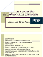 CAP.8 - ANÁLISE DAS CONDIÇÕES ECONÔMICAS DE USINAGEM (LUIZ)