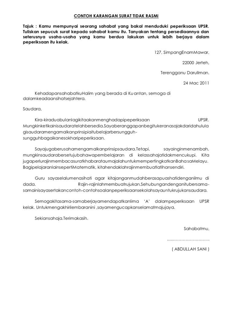Contoh Karangan Surat Tidak Rasmi Kepada Ibu Bapa - Rasmi B