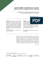 CONSIDERAÇÕES SOBRE A FILOSOFIA DA CULTURA E FORMAÇÃO DE VALORES EM MAX SCHELER