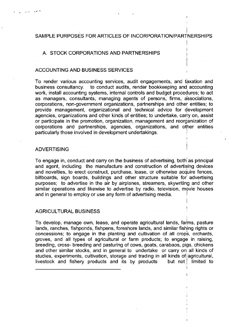 Articles of Incorporation Sample of Purposes From SEC – Articles of Incorporation Template Free