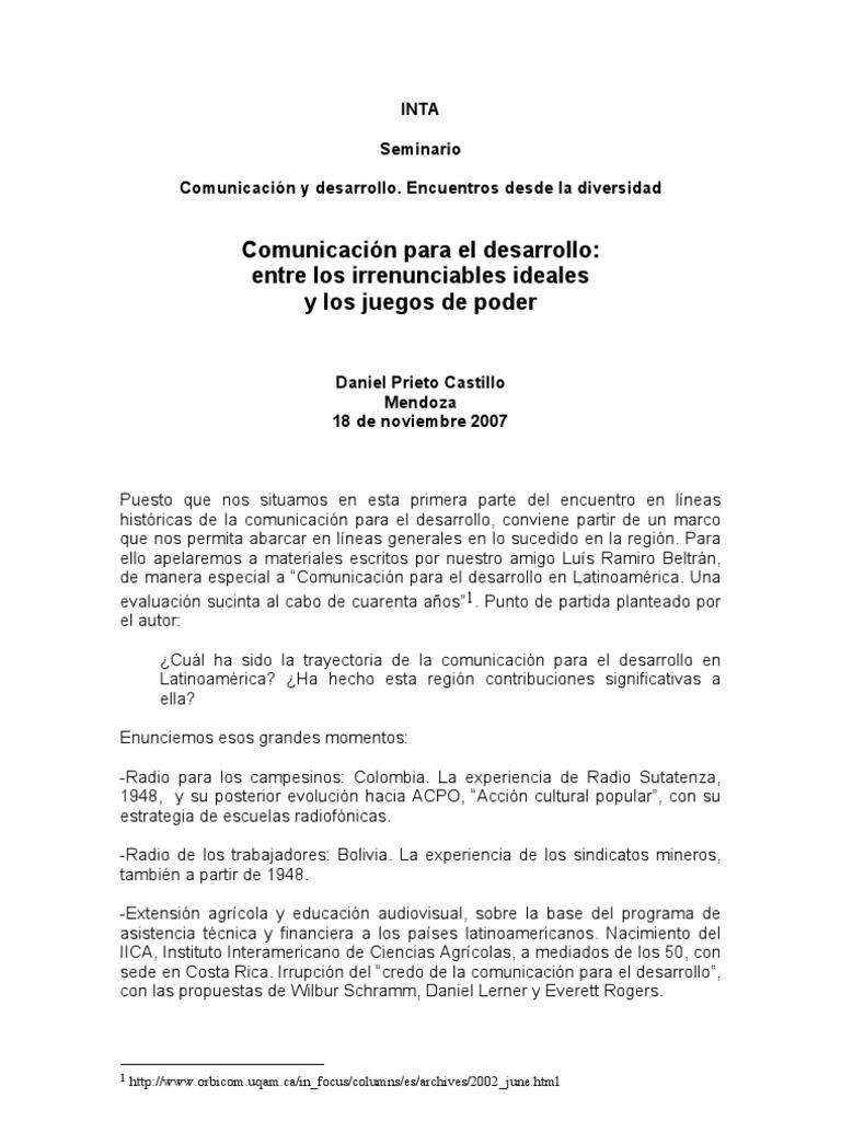COMUNICACIÓN PARA EL DESARROLLO ENTRE LOS IRRENUNCIABLES Y LOS ...