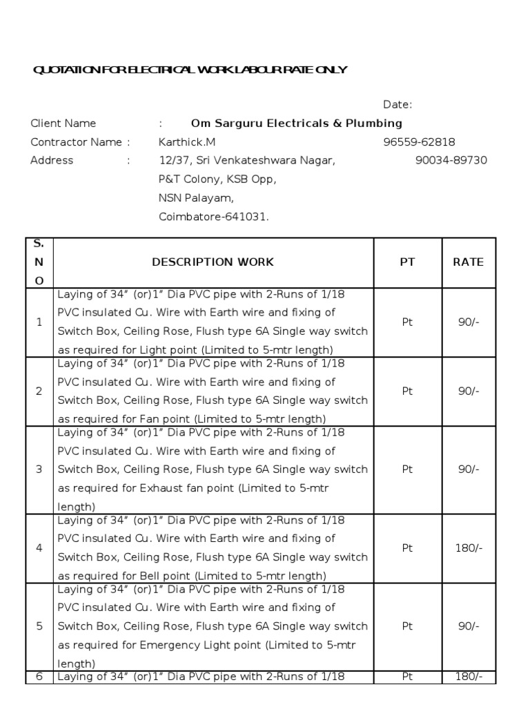quotation for electrical work labour rate only electrical wiring rh es scribd com Quotation Format PDF electrical wiring quotation sample format