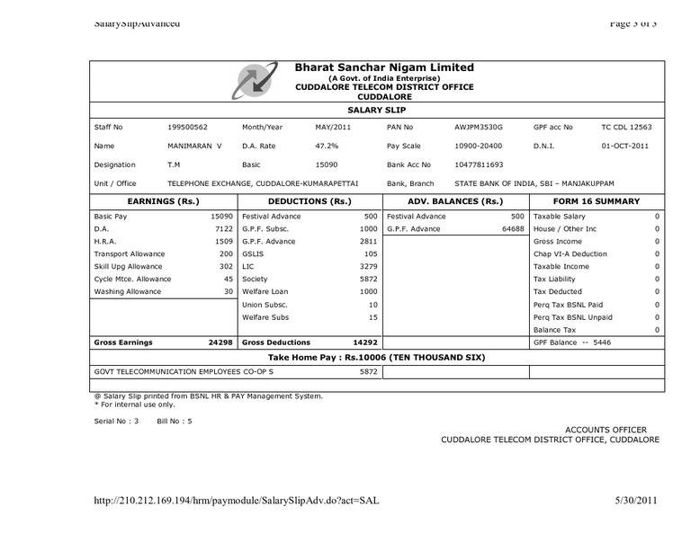 BSNL Salary Slip 1 – Employees Salary Slip
