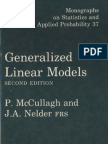 Generalized Linear Models McCullagh and Nelder