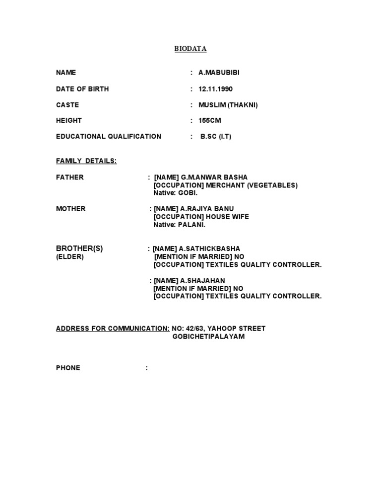 Resume Format For Marriage Zrom