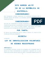 13923435 Ley de Inmovilizacion Voluntaria de Bienes Registrados Decreto 6297