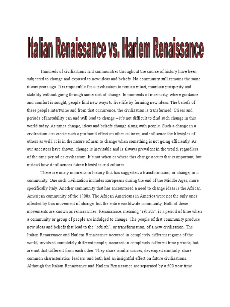 renaissance and humanism essay humanism Renaissance humanism the time when the term humanism was first adopted is unknown it is, however, certain that both italy and the re-adopting of latin letters as the staple of human.