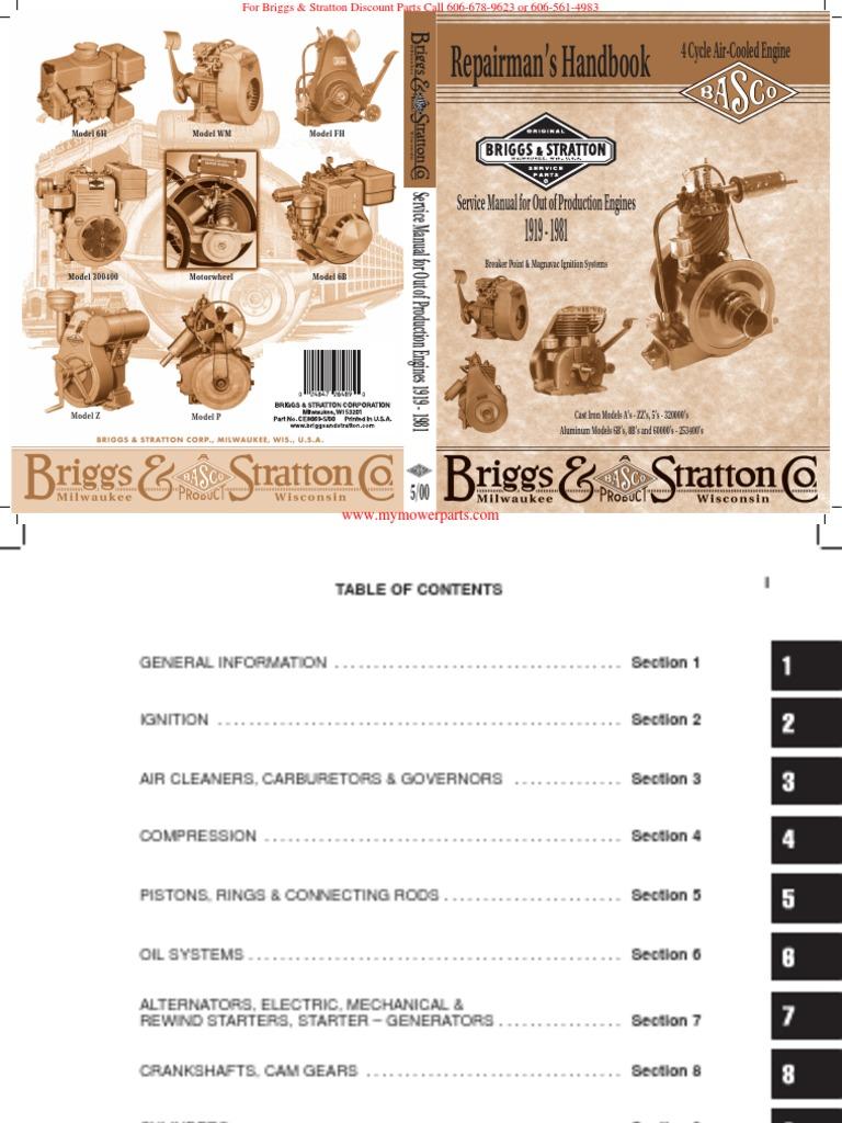 briggs stratton repairman s handbook for older engines 1919 1981 rh scribd com Briggs and Stratton Parts Manuals Briggs and Stratton Engine Troubleshooting