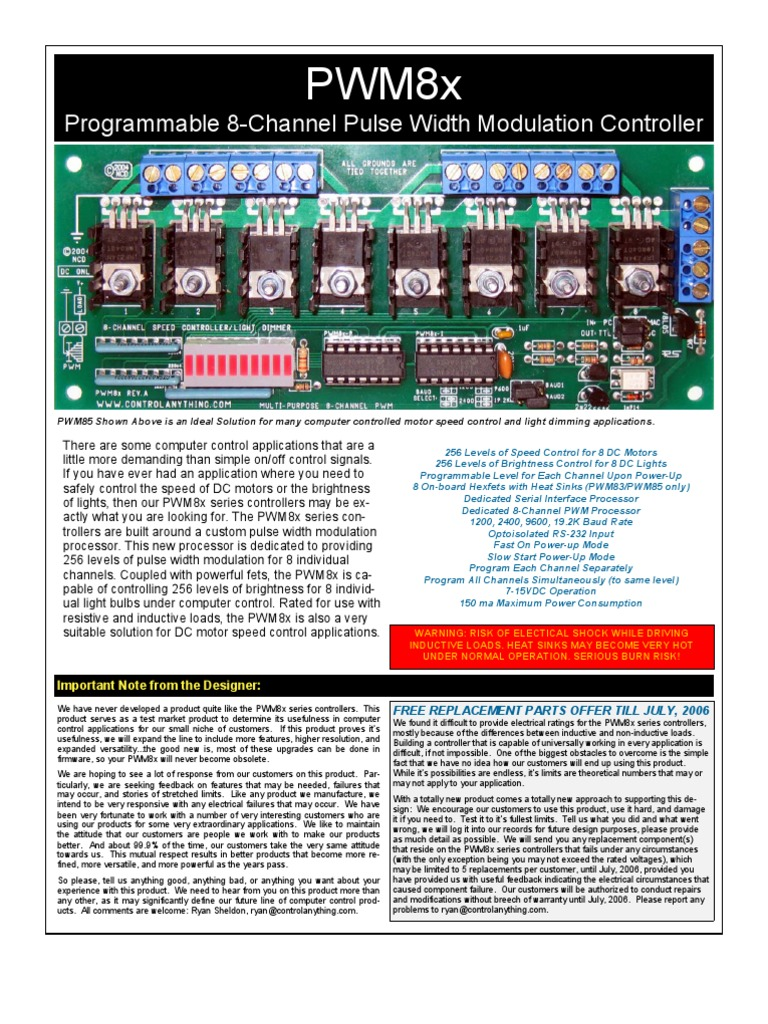 Pwm Pulse Width Modulation For Dc Motor Speed And Led Brightness Pwm8x Ascii Power Supply