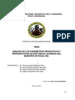 ANÁLISIS DE LOS PARÁMETROS PRODUCTIVOS Y REPRODUCTIVOS
