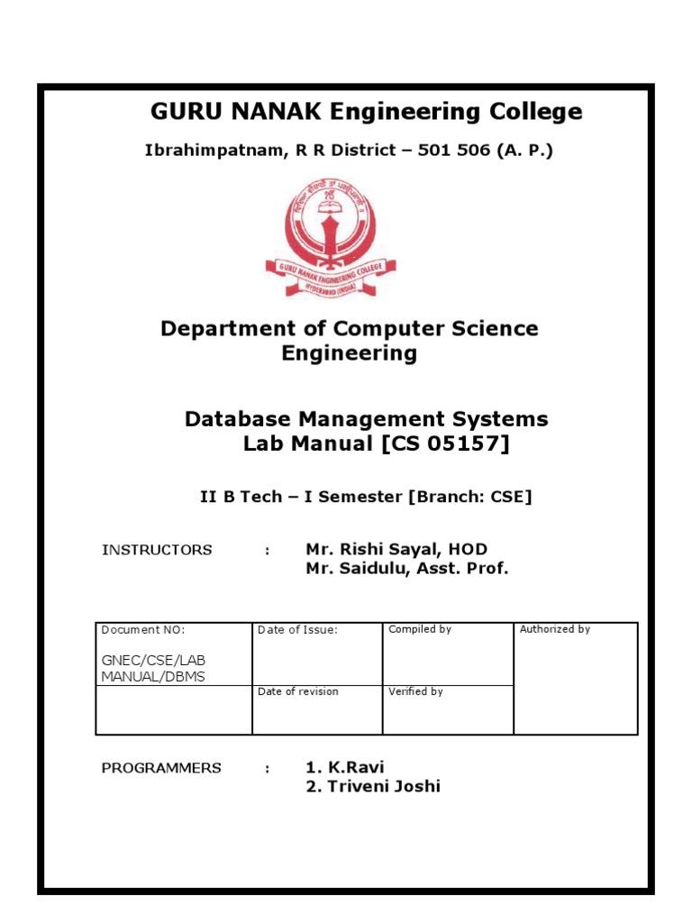 dbms lab manual relational model databases rh scribd com dbms lab programs vtu mca dbms lab manual vtu