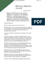 Odgovor Milosevica Na Ultimatum Iz Rambujea 1999 22 Mart