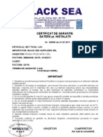 Certificat de Garantie Baterii Pt. Instalatii 35