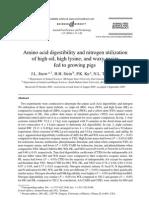 Amino Acid Digestibility and Nitrogen Utilization
