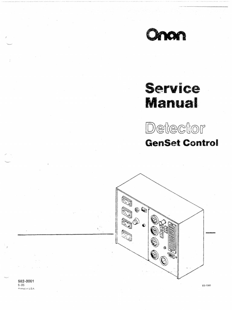 Onan Service Manual Detector GenSet Control 982-0001 6-1986