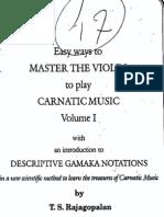 Rajagopalan, Master to play violin in Carnatic Music