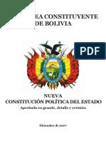 Nueva Constitución Política de Bolivia.  Texto completo aprobado 2007