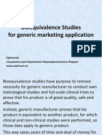 Bio Equivalence Studies for Generic Marketing Applications