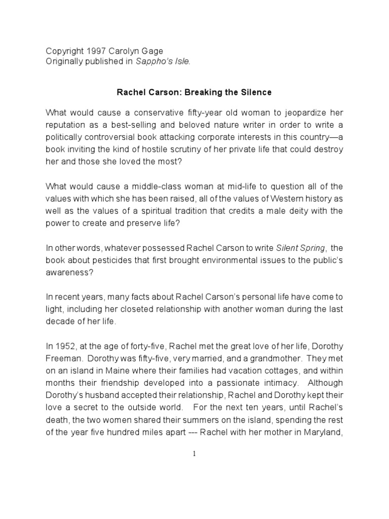 rachel carson breaking the silence love