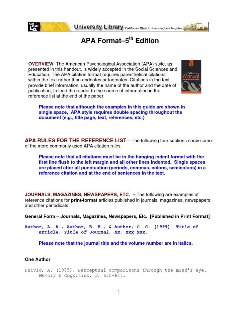 apa 5th format citation apa style