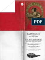 El Arte Culinario, libro antiguo Tratado Práctico y Completo de Cocina, Pastelería y Repostería