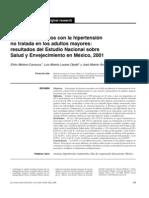 Factores asociados con la hipertensión no tratada en los adultos mayores resultado del estudio nacional sobre salud y envenecimiento en mexico 2001
