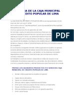 Historia de La Caja Municipal de Credito Popular de Lima