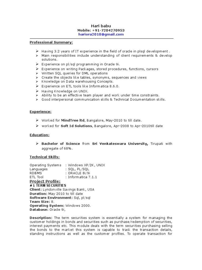 Informatica Developer Resume Sample Pl Sql Developer Resume Sample