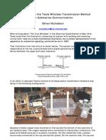 Experiments on the Tesla Wireless Transmission Method