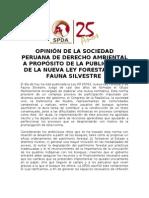 Pronunciamiento de la SPDA sobre nueva Ley Forestal y de Fauna Silvestre