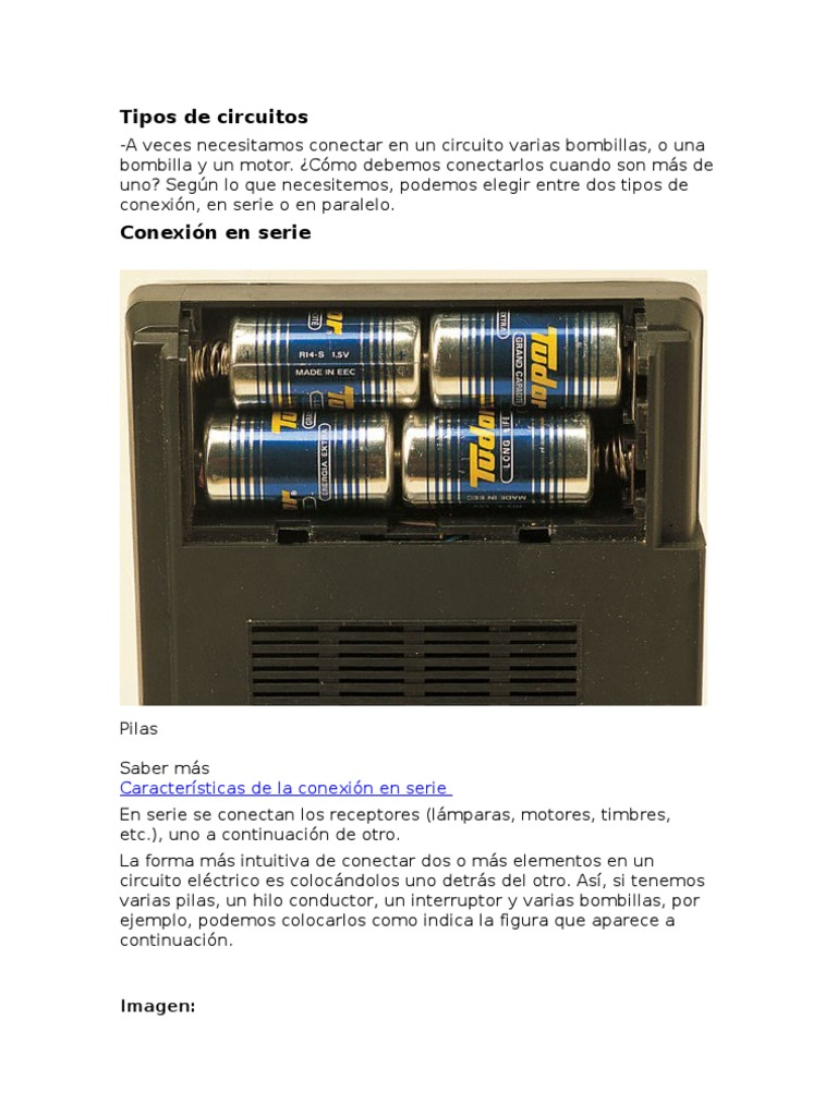 Circuito Electrico En Serie : Tipos de circuitos
