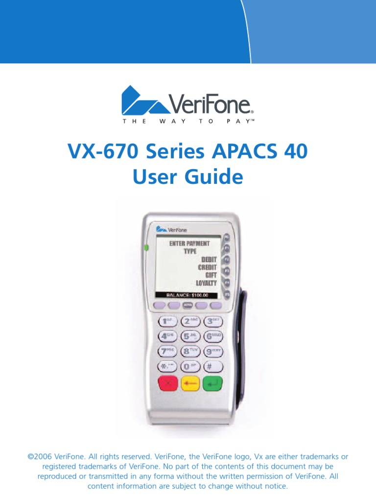 Verifone Vx670 Manual | Emv | Debit Card