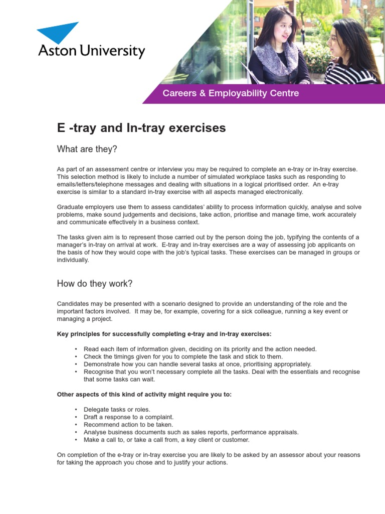 46723_E and in Tray Exercises | Email | Performance Appraisal