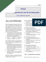 Decret Application Code Investissements