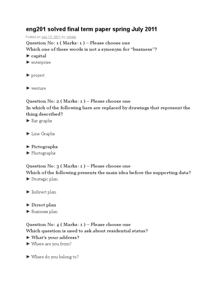 solved final term paper of eng201