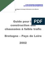 Guide pour la construction des chaussées à faible trafic – Bretagne – Pays de Loire (2002)