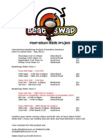 BeatSwap Project Dates 2011/12