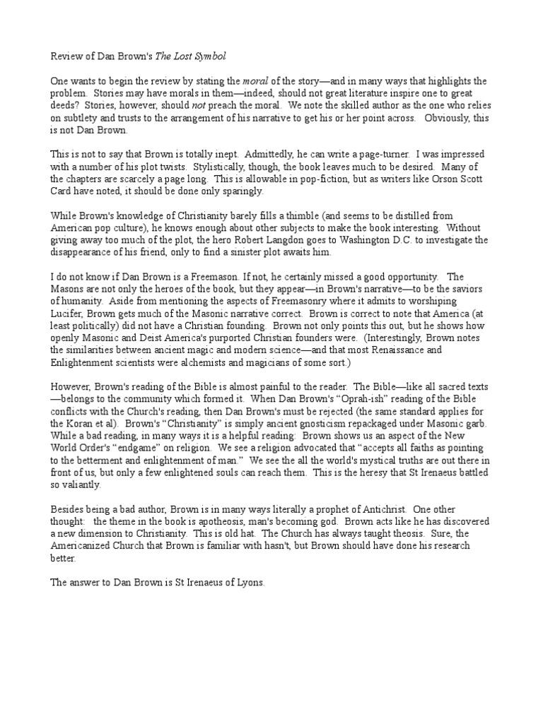 Review Of Dan Brown Lost Symbol Irenaeus Freemasonry
