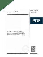 Clinicas, PolIclinicas Institutos u Hos Pi Tales Privados. Clasificacion.- COVENIN 2339-87