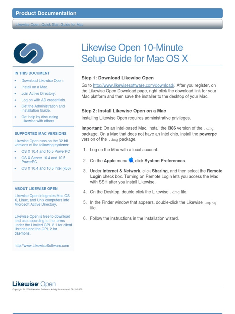 Likewise Open Version 5 0 Quick Install Guide for Mac OS | Active