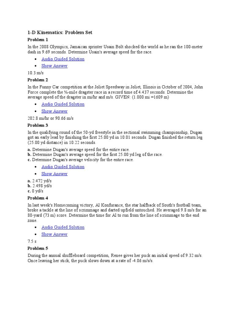Physics 12 Takeoff – Calculating Average Speed Worksheet