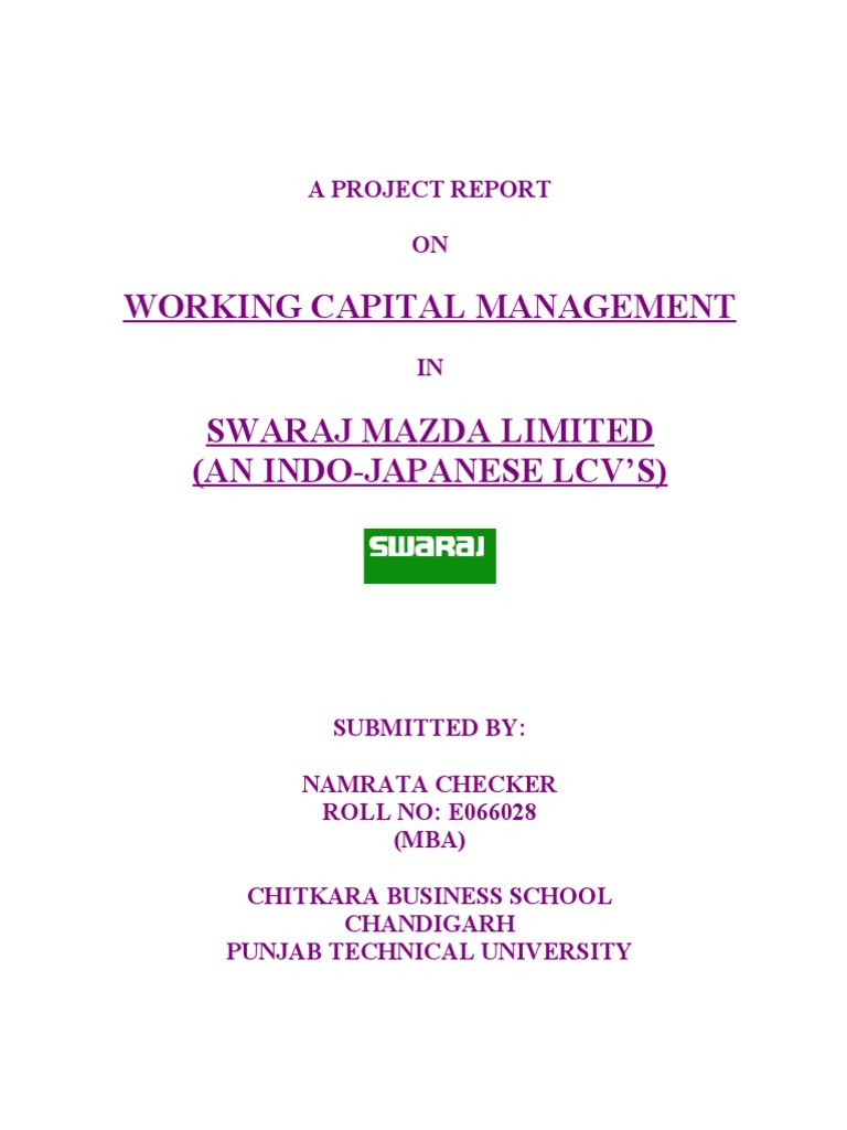 Swaraj mazda limited a project report on working capital management working capital inventory