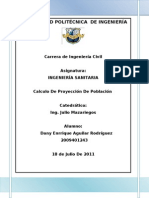 Calculo De Proyección De Población