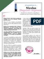10 questions à Nicolas Dupont-Aignan